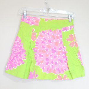Lilly Pulitzer green pink floral pleated miniskirt